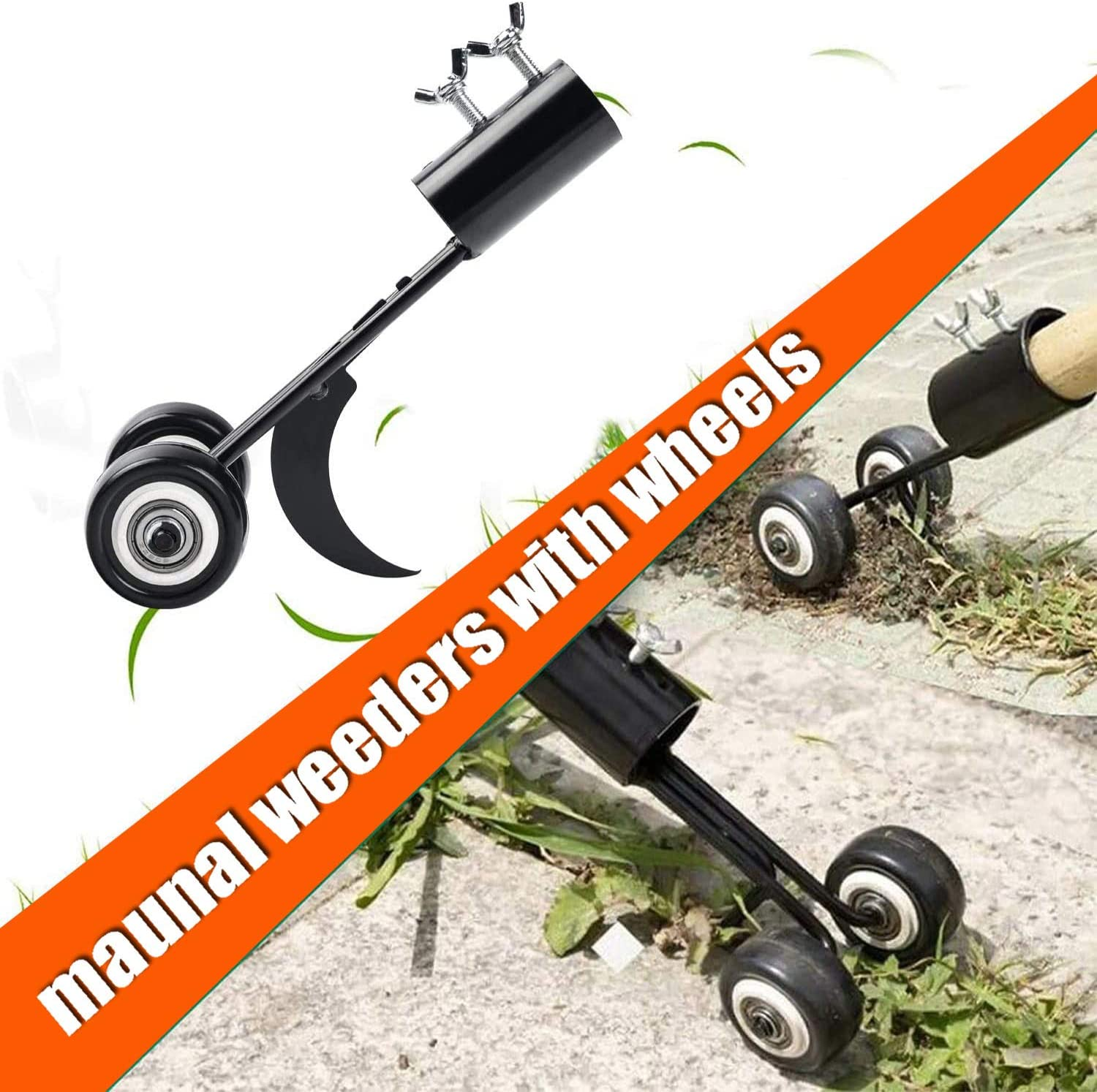 VANCON Weeds Snatcher Crack and Crevice Weeding Tool, Sidewalk Weed Puller Stand Up, Weed Crack Tool with Wheels, Cleaning Garden Tools for Patio Backyard (Hook)