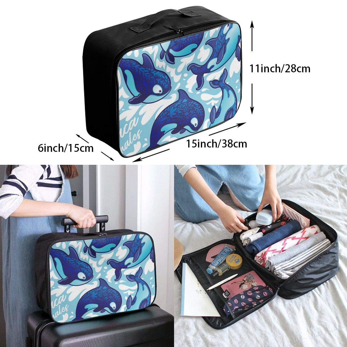 ADGAI Seamless Pattern with Decorative Orca Whales Canvas Travel Weekender Bag,Fashion Custom Lightweight Large Capacity Portable Luggage Bag,Suitcase Trolley Bag