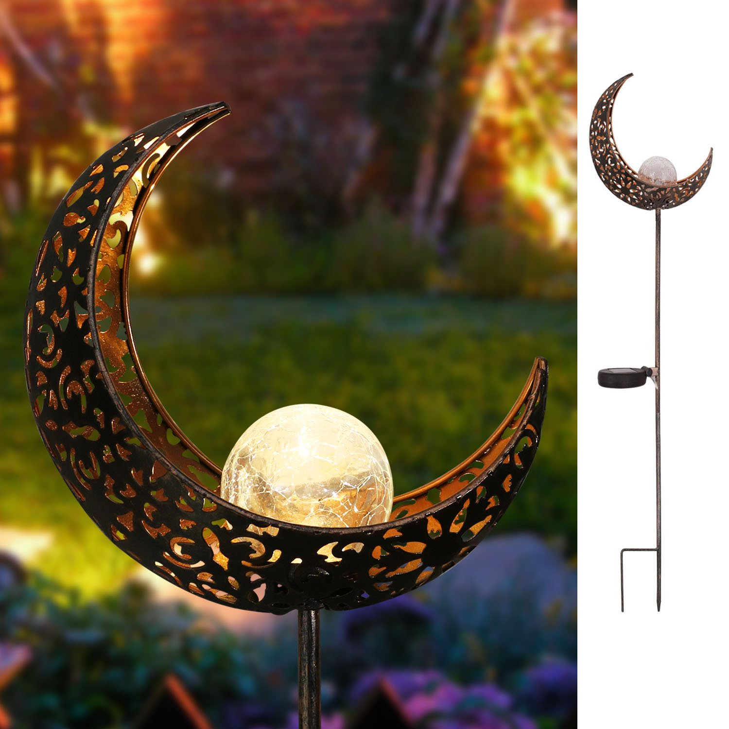 Homeimpro Garden Solar Lights Pathway Outdoor Moon Crackle Glass Globe Stake Metal Lights,Waterproof Warm White LED for Lawn,Patio or Courtyard (Bronze) by Homeimpro