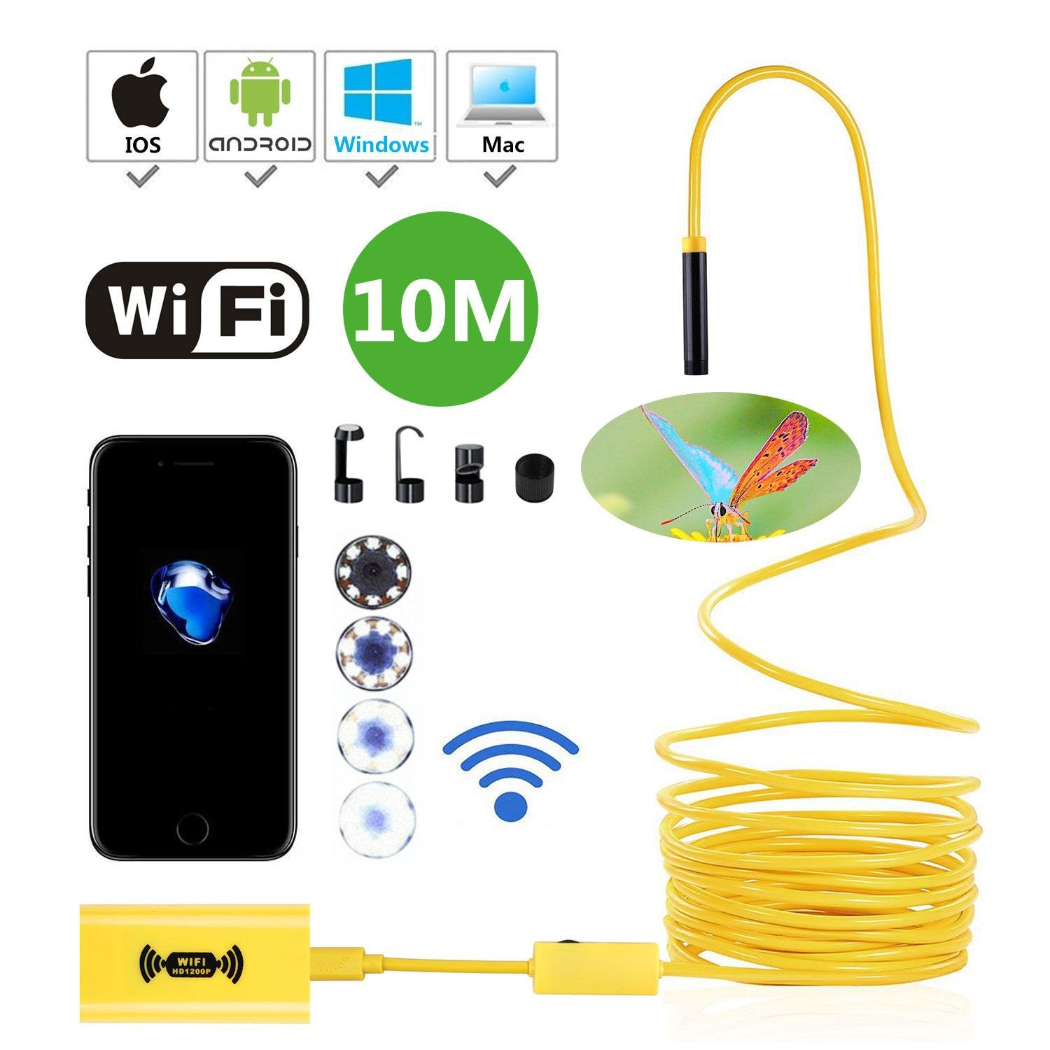 IP68 Waterproof Wireless Endoscope, 8mm HD 1200P Leegoal Wifi Borescope Camera 2.0 Megapixels CMOS Semi-Rigid Snake Cable with 8 Adjustable LED for IOS/Android/Windows/Mac, Black(3.5M) 7025779139310