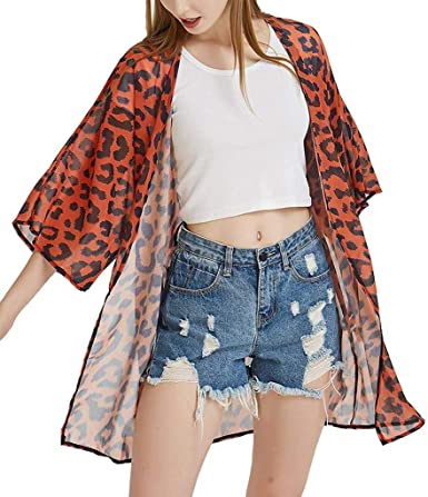 LQJstore Womens Half Sleeve Chiffon Leopard Print Cardigan Smock Easy Blouse Tops Beach Cover Up