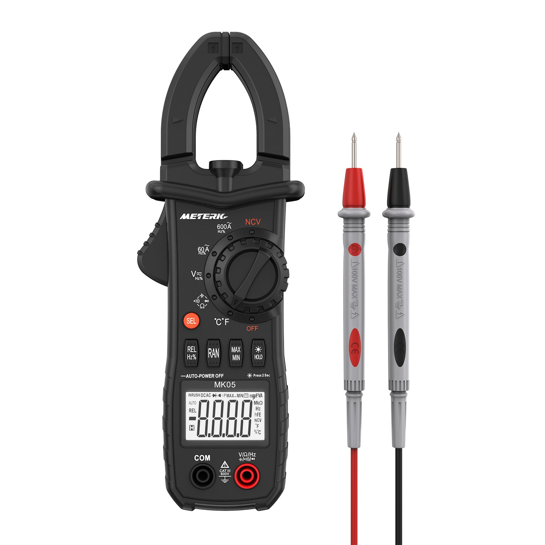Meterk Digital Clamp Meter 6000 Counts TRUE RMS NCV AC/DC Voltage Auto Range AC Current Clamp Multimeter Capacitance Resistance Frequency Temperature Measure (Black Digital Clamp Meter) by Meterk
