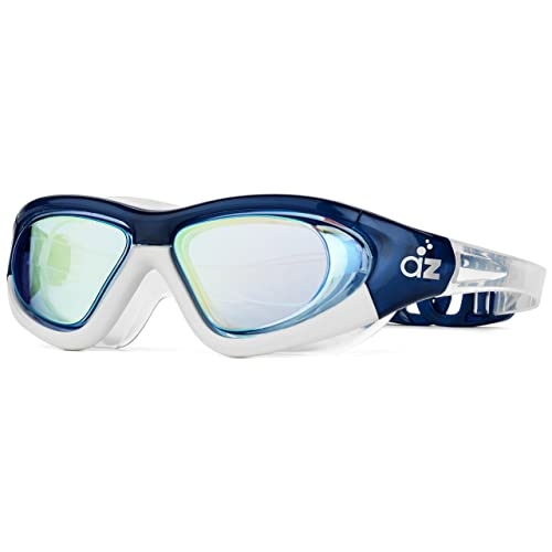 Aquazone Swimming Goggles with Super-Wide Hard Frame, Adjustable Straps, Continuous Seal, UV400 Protection, Earplugs and Carry Case