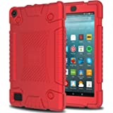 DONWELL Kindle Fire 7 2017 Silicone Rubber Case New Shockproof Anti-slip Light Weight Kids Friendly Silica Gel Thin Layer Protective Cover for All-New Amazon Fire HD 7 (Red)