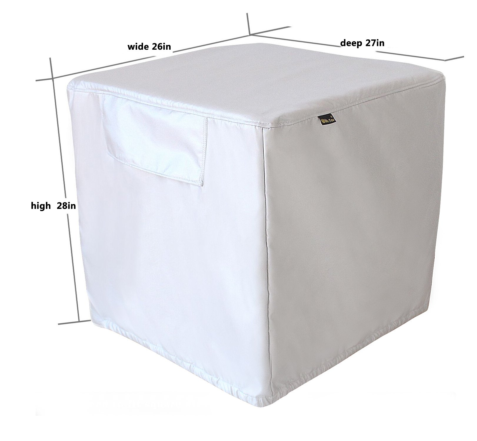 Mr.You Square Air Conditioner Cover Heavy Duty Waterproof Durable For Winter outdoor 5 YR Warranty Year Around Protection Silver D27W26H28in by Mr.You (Image #2)