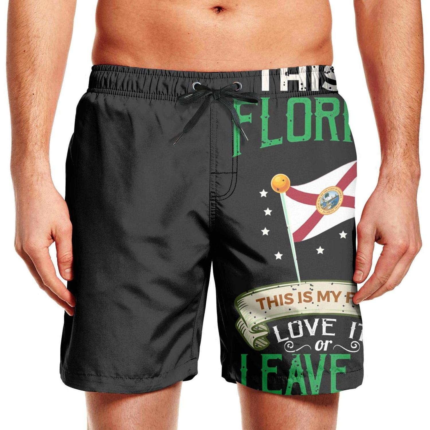 KHJGHYG Man Straight Outta Florida Flag Home Fashion Polyester Quick Dry Sports Swimming Shorts