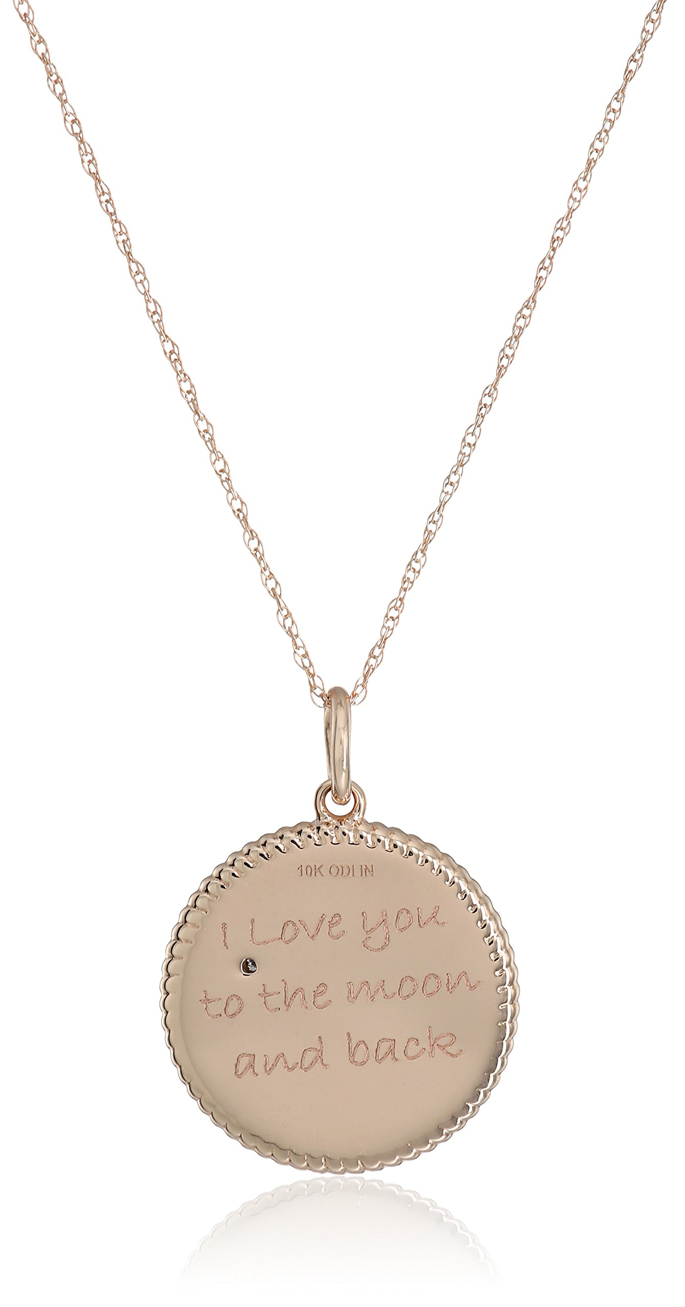 10k Rose Gold Diamond Accent ''I Love You To The Moon and Back'' Pendant Necklace, 18'' by Amazon Collection (Image #2)