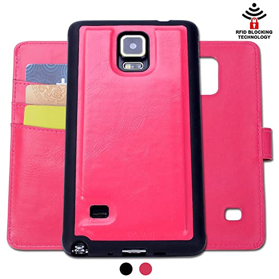 big sale 0fb9c 2de0a SHANSHUI Samsung Galaxy Note 4 Case, Detachable 2in1 RFID Blocking Leather  Wallet Holster with Three Card Holders and One Cash Pocket with Slim Back  ...
