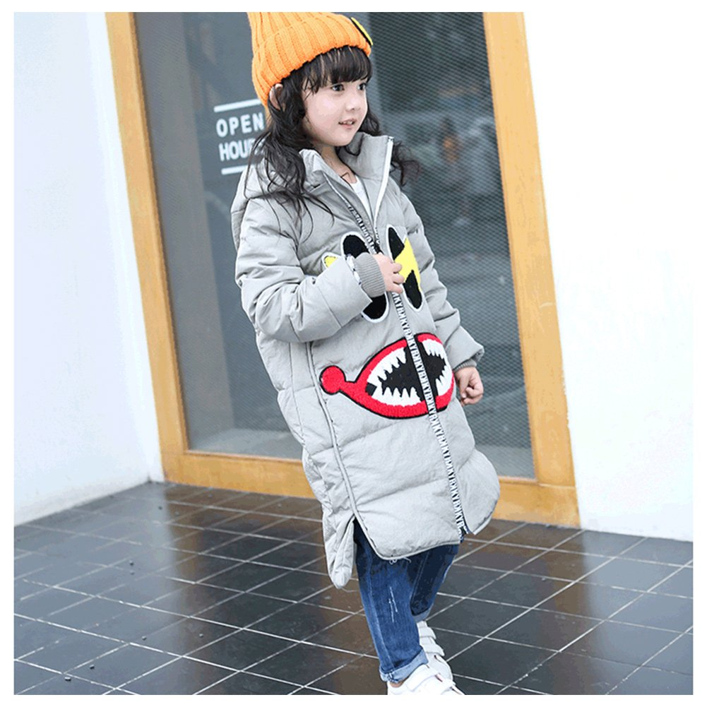 Girls White Duck Down Jacket Winter LSERVER Cartoon Smile Face Kids Girls Long Snowsuit Parkas Coat With Ear Hoodies
