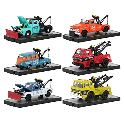 Auto Tow Trucks 6 Piece Set Release 52 in Display Cases 1/64 Diecast Model Cars by M2 Machines 32500-52: Toys & Games
