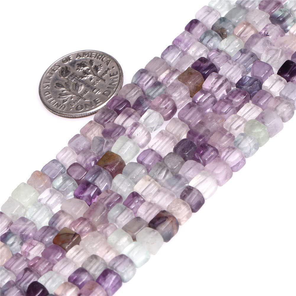 Cuentas de piedra natural de amazonita natural de 6 x 8 mm para bisutería de 15 cm, Multicolor 4 mm., 4 mm