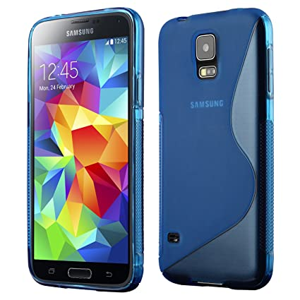 Galaxy S5 Case, Cruzerlite S-Line TPU Case Compatible for Samsung Galaxy S5 - Blue