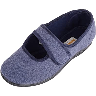 e864999c32c Absolute Footwear Womens Slip On EE Wide Fitting Slippers Shoes with Ripper  Fastening - Navy