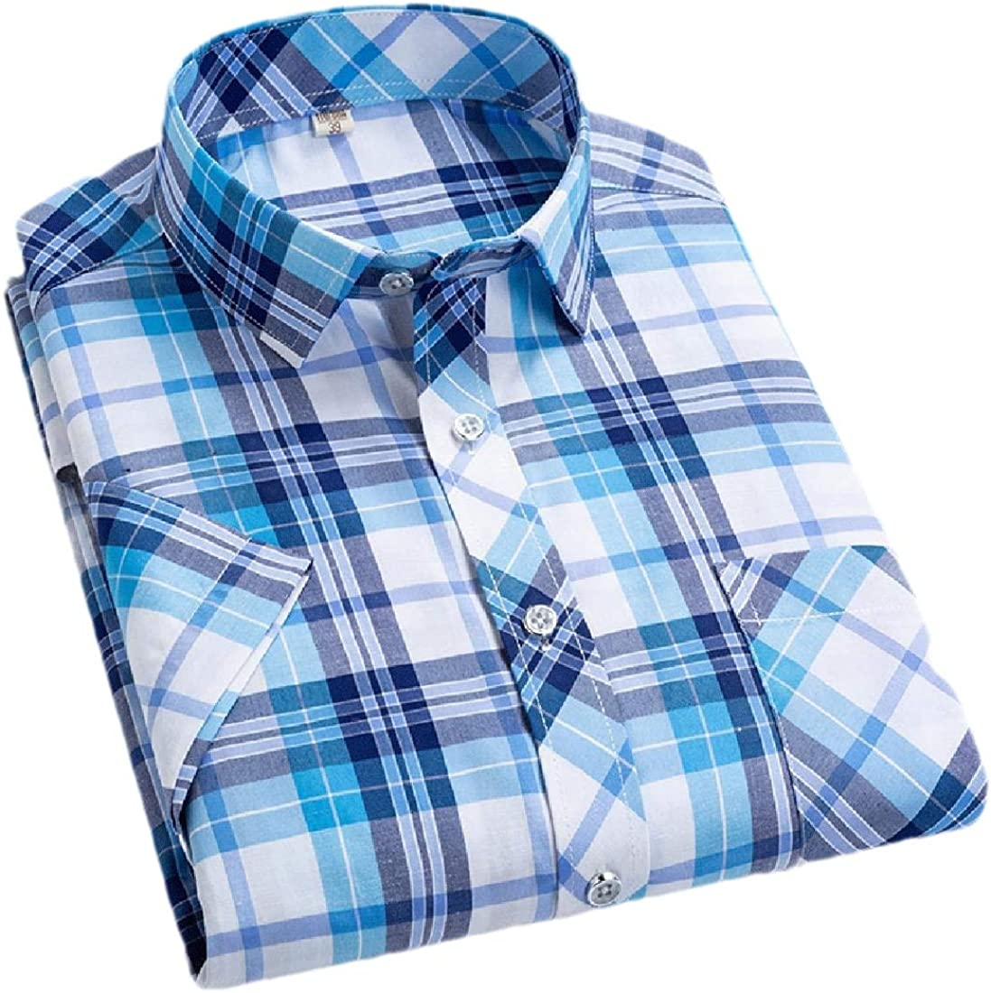 xiaohuoban Mens Short Sleeve Casual Business Button Down Dress Shirt Cotton Shirts