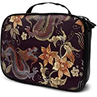 Cosmetic Bag Embroidery Asian Dragons Flowers Pattern Travel Makeup Bag Anti-wrinkle Cosmetic Case Multi-functional Storage Bag Large Makeup Brush Bags Travel Kit Organizer Women's Travel Bags
