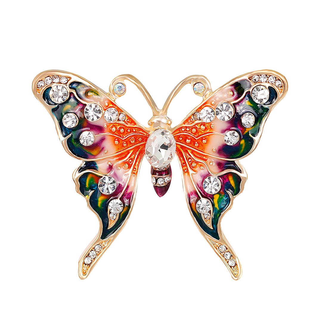 Gabrine Womens Girls Fashion Jewelry Rhinestone Crystal Insect Animal Enamel Butterfly Brooch Breastpin Sweater Pin Lapel Pin for Bridal Party Prom