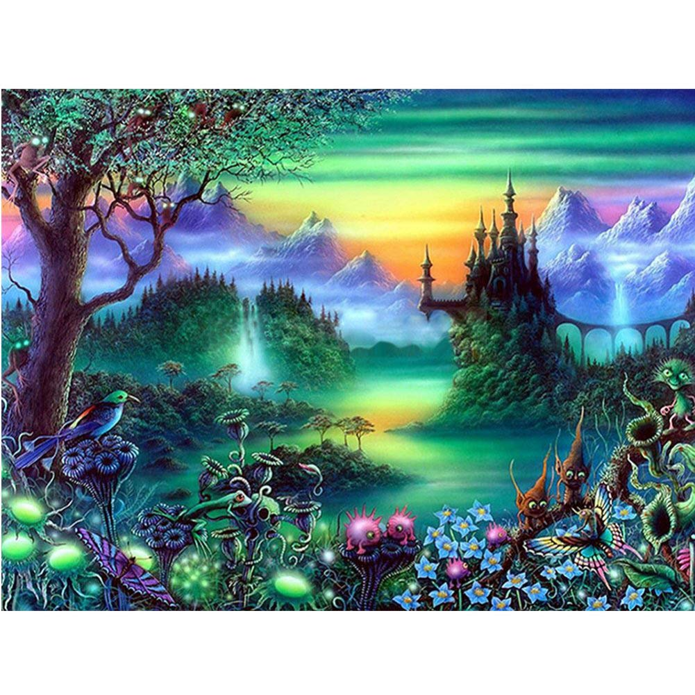 MXJSUA DIY 5D Diamond Painting Full Square Drill Kits Rhinestone Picture Art Craft for Home Wall Decor 12x16In Magic Forest