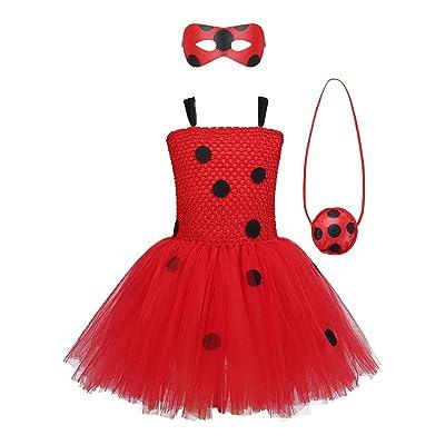 MYRISAM Girls Ladybug Costume Tutu Dress Kids Halloween Carnival Cosplay Fancy Dress Up Outfits w/Eye Mask Yo-Yo Bag: Clothing