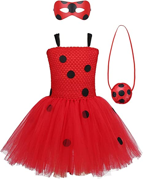MYRISAM Disfraz de Ladybug para Niña Halloween Dress Up Cosplay ...