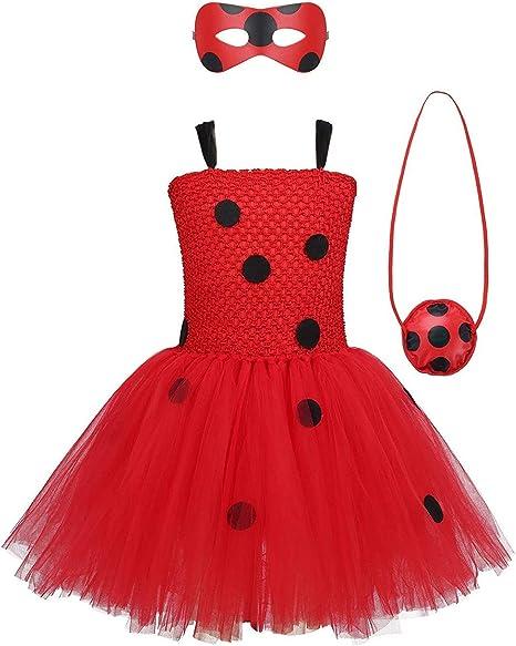 Amazon.com: MYRISAM Disfraz de mariquita para niñas, tutú ...
