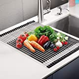 Roll Up Dish Drying Rack, Large Over Sink Dish Drying Rack Drainer, Multi-Use Stainless Steel Foldable Dish Rack for Kitchen
