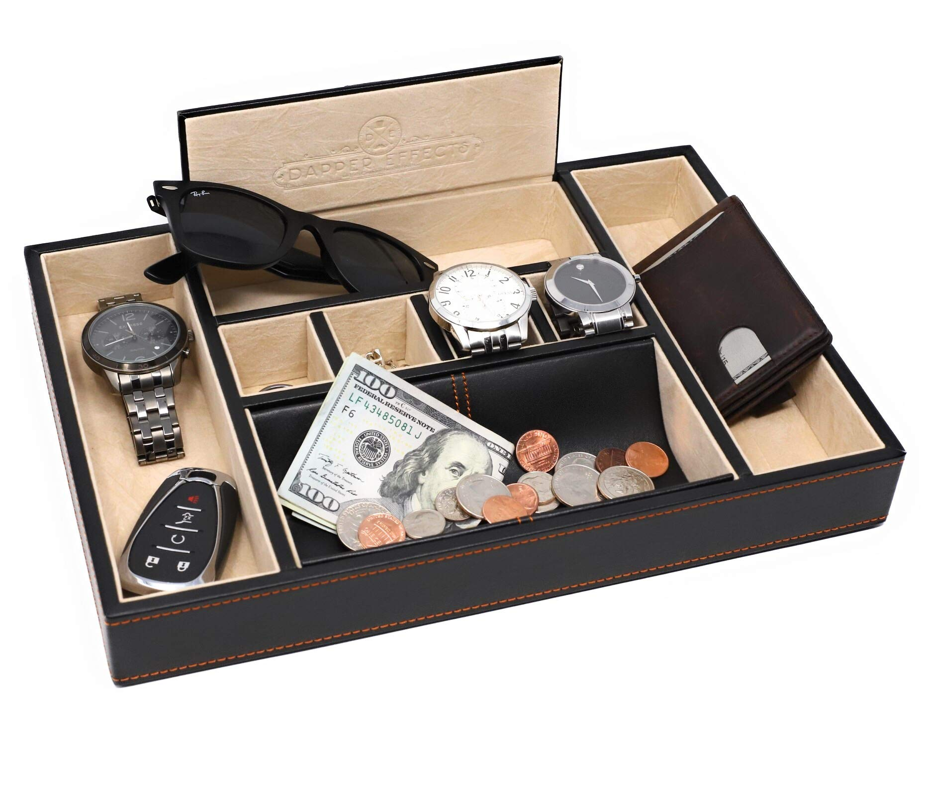 Dapper Effects Mens Valet Tray - Organizer For Desk, Dresser Top Or Nightstand (Black)