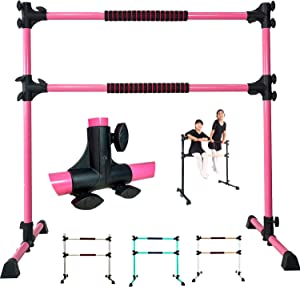 PreGymnastic Updated 4ft/5ft Adjustable & Portable Freestanding Ballet Barre with Carrying Bag for Dancing Stretch