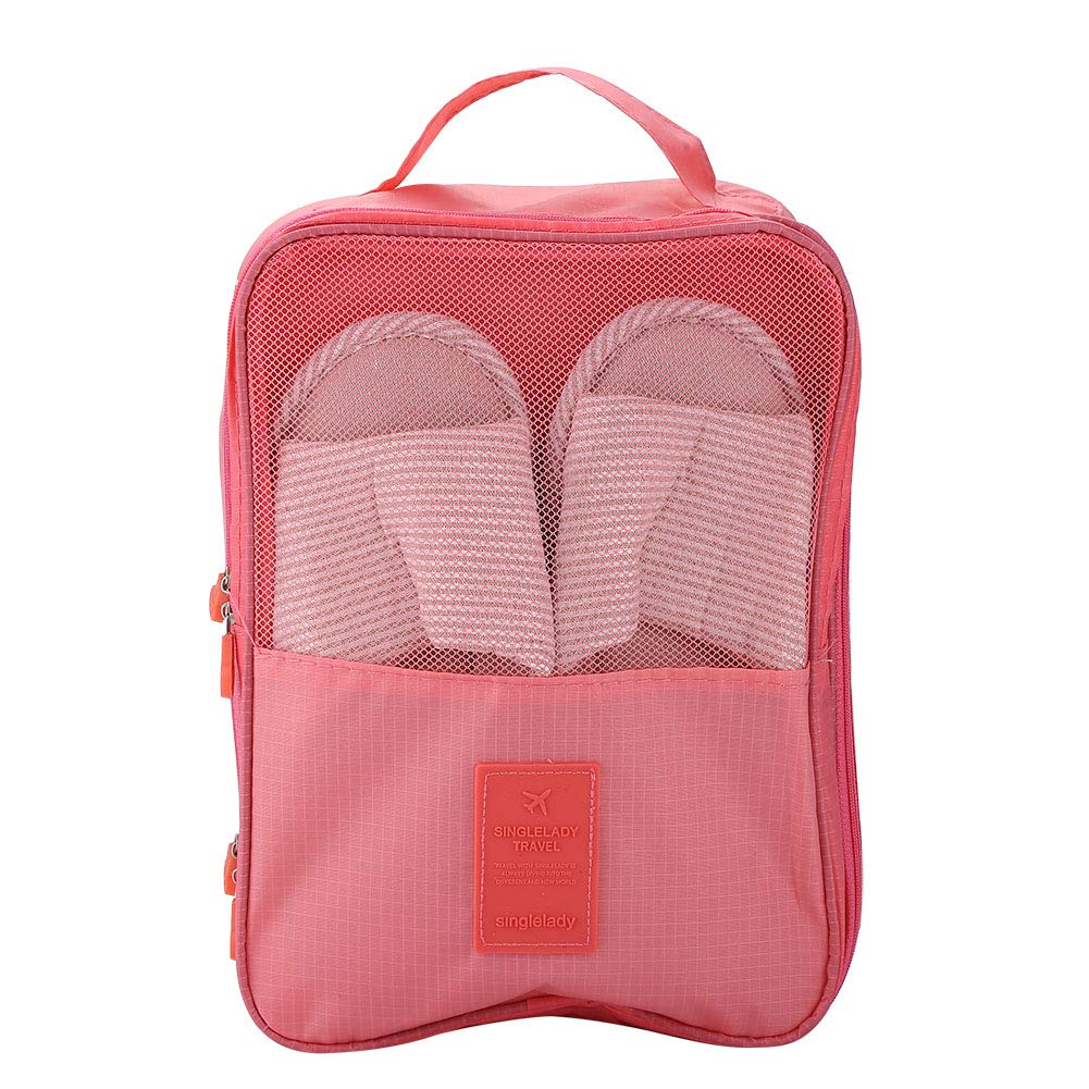 Travel Shoes Bag, Portable Tote Football Shoe Travel Boot Sports Gym Carry Storage Organizer Case Box Packing Zipper Closure Bag(Pink)
