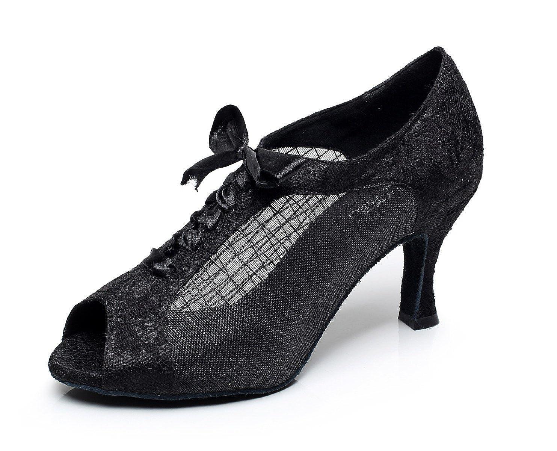 JSHOE - 4089 Dentelle Imprimée Maille Chaussures De Sandales Danse Latine Salsa/Tango/Thé/Samba/Moderne/Chaussures De Jazz Sandales Talons Hauts,Black-heeled10cm-UK7.5/EU42/Our43 - 3934601 - jessicalock.space
