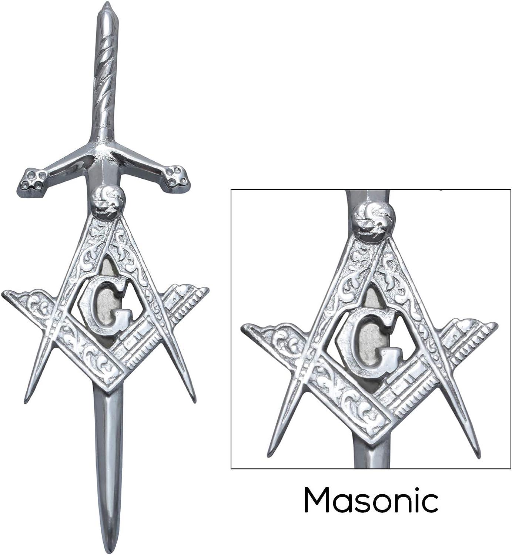 MajesticUSA Kilt Pins for Mens Highland Scottish Accessory Thistle Masonic Stag Head Irish Brass Steel and Chrome Finish