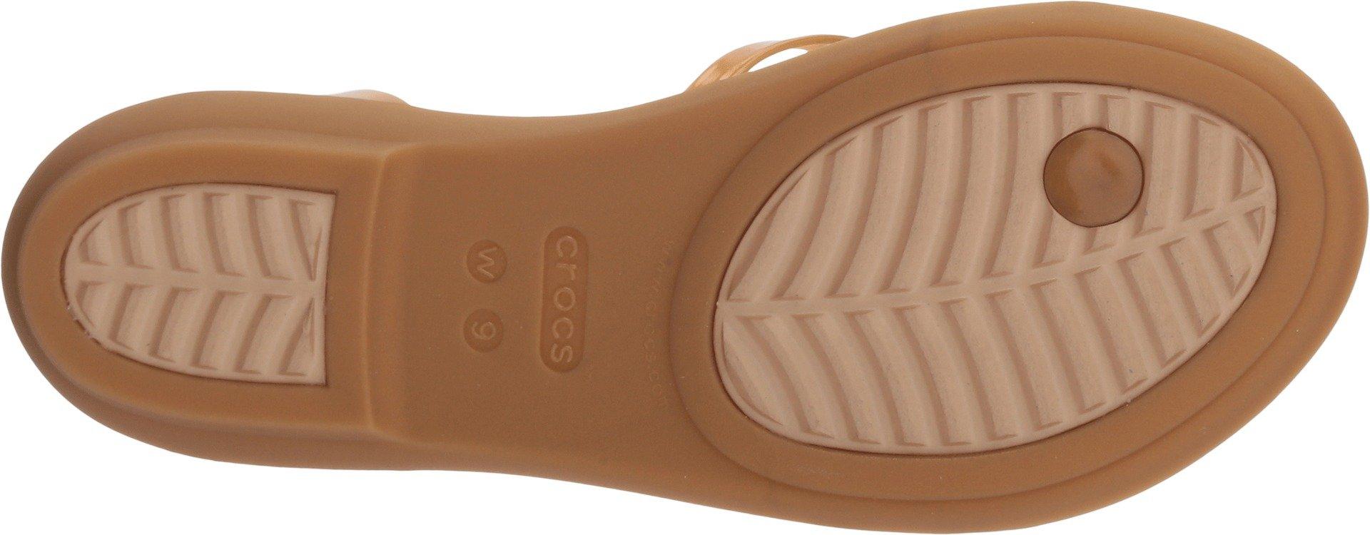 Crocs Women's Isabella Gladiator Sandal W Flat, Dark Gold, 6 M US by Crocs (Image #3)