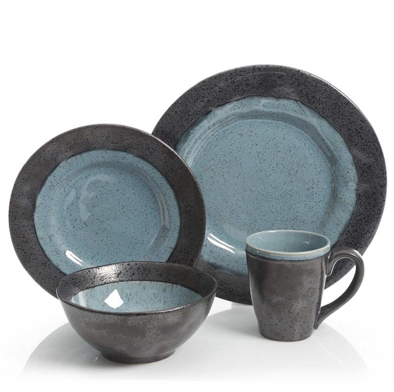Gibson Dragonstone 16 pc Dinnerware Set Aqua Stoneware