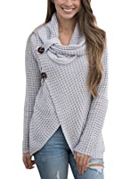 FIYOTE Women Long Sleeve Turtleneck Chunky Wrap Knit Cardigan Sweater Coat With Button Details S-XXL