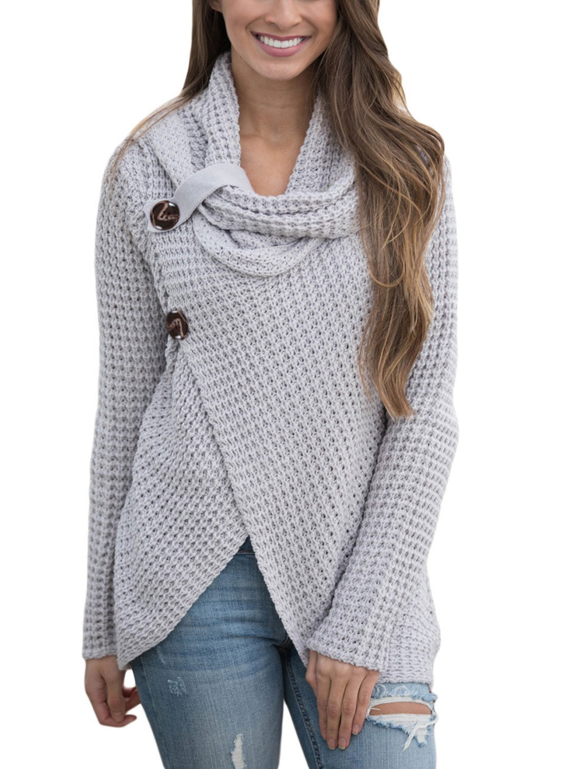 FIYOTE Women Casual Long Sleeve Turtleneck Solid Knit Pullover Sweater X-Large Size Grey