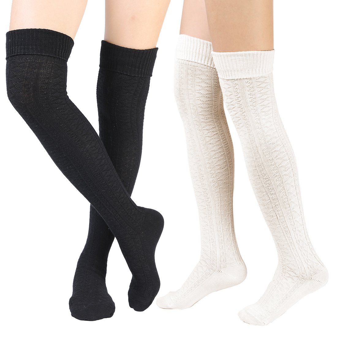Women's Over Knee High Socks Knit Boot Stockings Leg Warmer 2 Pairs