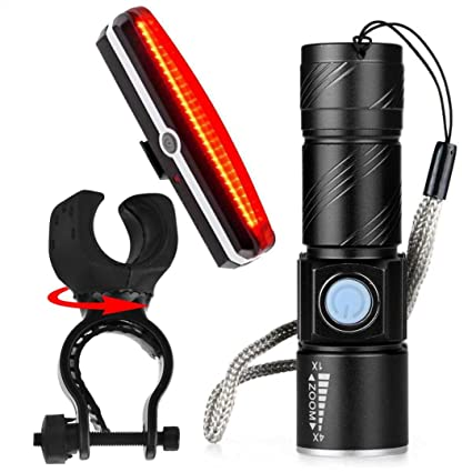 USB Rechargeable Bike Bicycle LED Head Front Light /& Rear Tail Lamp Set ON