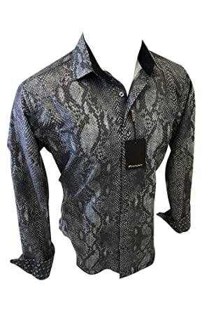 b3acae7c4c96 Premiere Mens Long Sleeve Button Down Designer Dress Shirt Black Reptile  Snake Design Untucked (Small