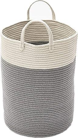 Tiowo Grande Cuerda de Algodon Cestas De Lavado De Pom Pom Cestos para la Colada Cesta de Almacenamiento Cesto de lavandería para bebés Contenedor de Juguetes Decorativo para Guardería con asa (Gris):