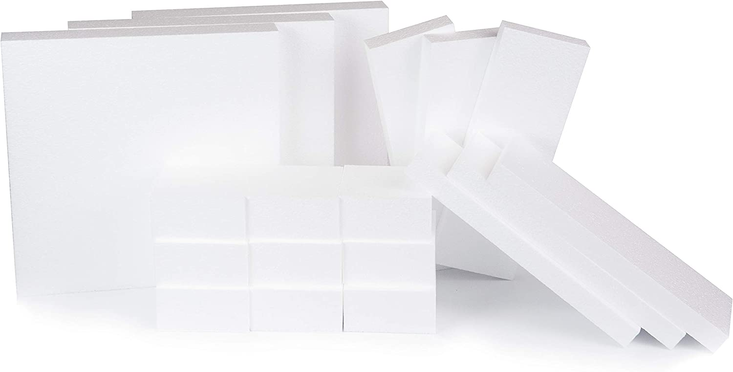 12x12x2 EPS  School Crafts Florist Packaging Cakes Styrofoam Blocks Qty 4