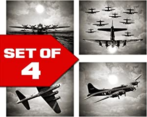 Wallables Vintage Sky Aviation Wall Art in Bogart Black & White Set of Four 8x10 Airplane Theme Decor Prints, Great for Mens Gift, Office, Home, Bachelor pad, Barbershop Decoration! Only at