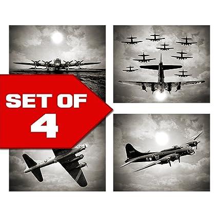 Merveilleux Vintage Sky Aviation Wall Art In Bogart Black U0026 White Set Of Four 8x10  Airplane Theme