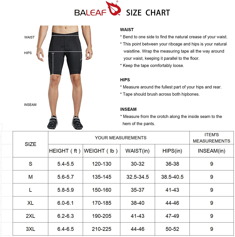 Baleaf Pantalones Pantalones cortos de ciclista 3D rellenado para bicicleta con bolsillos laterales y de secado r/ápido para los hombres la UPF 50