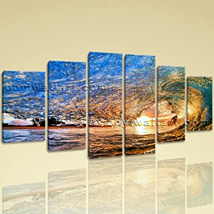 Amazon.com: Extra Large Seascape Wall Art Surfing Print Dining Room ...