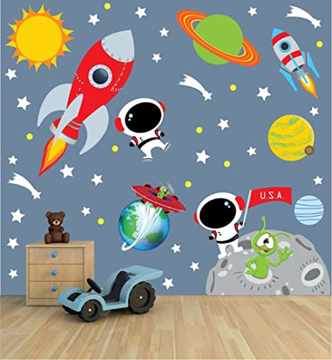Space Wall Decal with Astronaut rocket and moon for Baby Nursery or Boyu0027s Room  sc 1 st  Amazon.com & Amazon.com: Space Wall Decal with Astronaut rocket and moon for ...