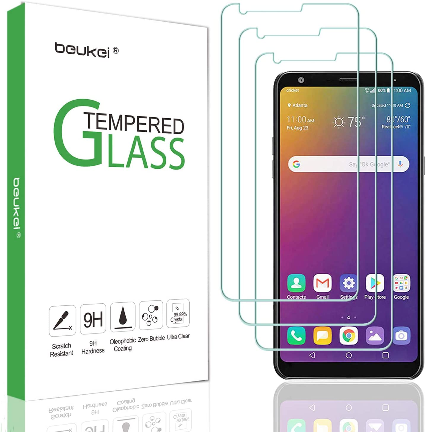 (3-Pack) Beukei for LG Stylo 5 / Stylo 5 Plus/Stylo 5X Screen Protector Tempered Glass,Full Screen Coverage, Anti Scratch, Bubble Free