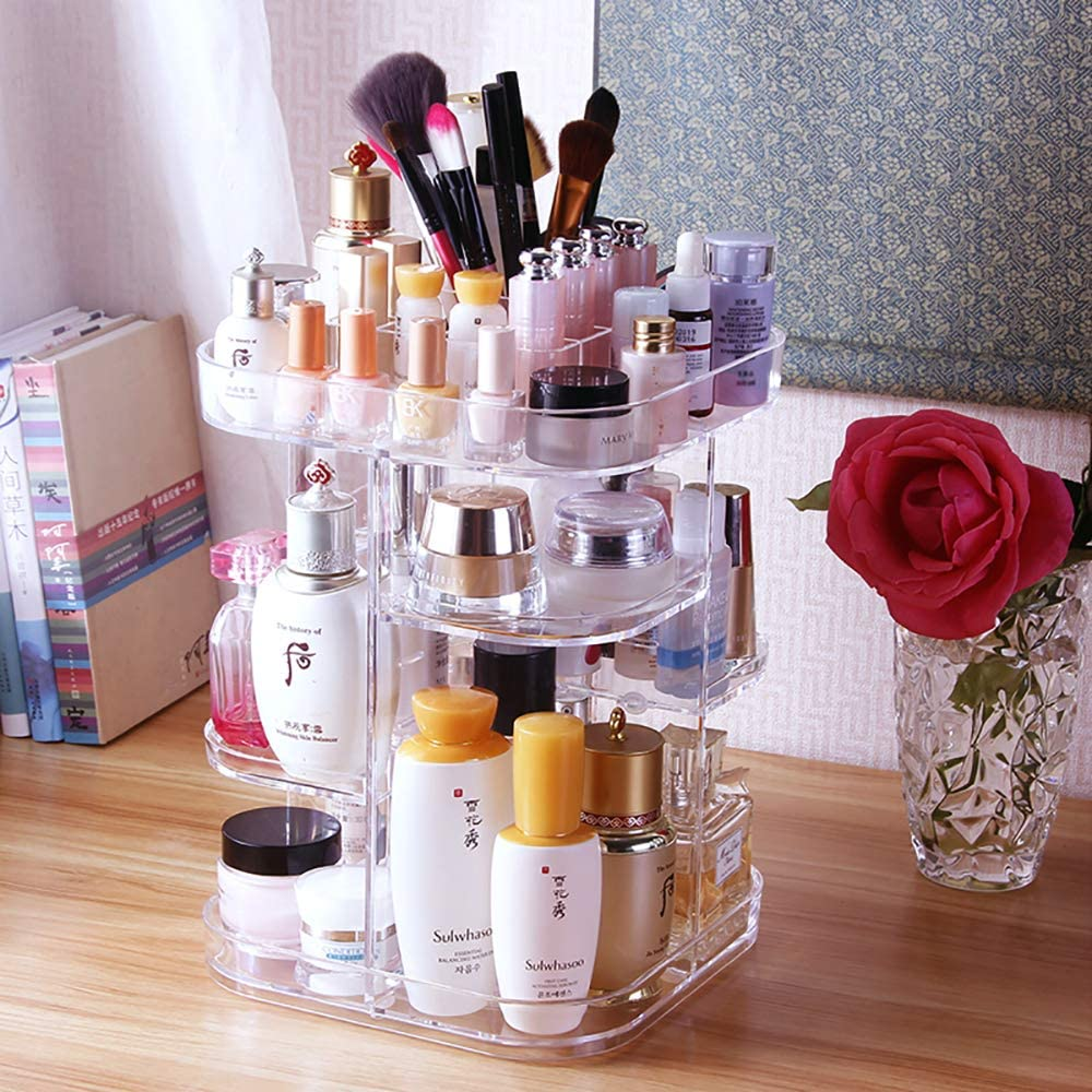 UEK Acrylic Makeup Organizer, 360 Rotating Cosmetic Storage Box - Crystal Adjustable Jewelry Cosmetic Perfumes Display Stand Box