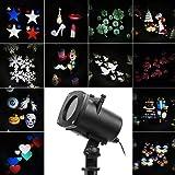 Halloween LED Proiettore Luci Natale con 12 disegni, dinamica / statica 3 gradini velocità, interno esterno IP65, timer 6 ore, proiettore lampada da giardino, decorazione della parete, illuminazione