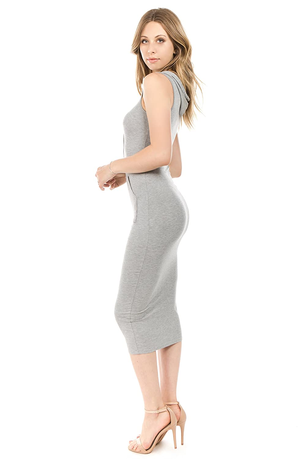 Size S to 3X Bubble B Womens Hooded Sleeveless Long Bodycon Dress