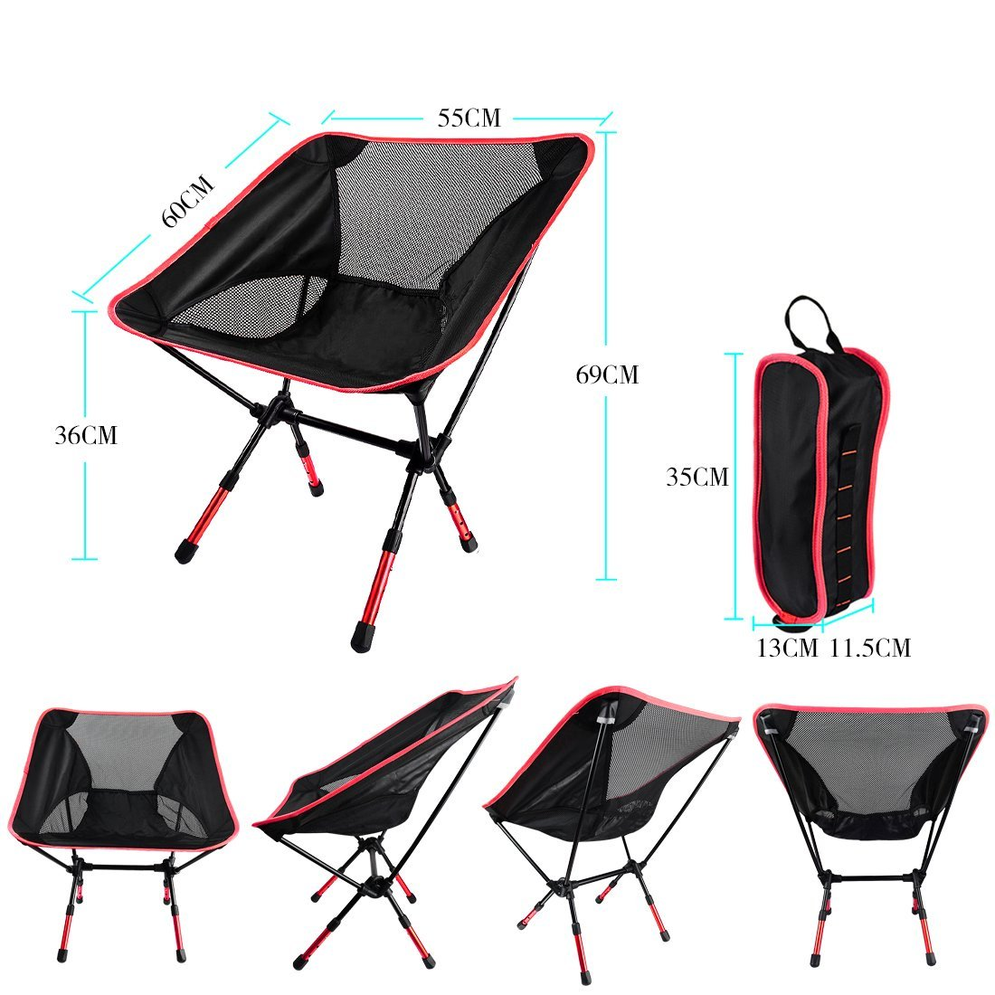 NOTENS Silla de Camping Plegable Ultraligero Mochilas al Aire Libre para recreo Respaldo 3 Niveles Altura Ajustable Silla compacta de hasta 150 KG para la Pesca Escalada