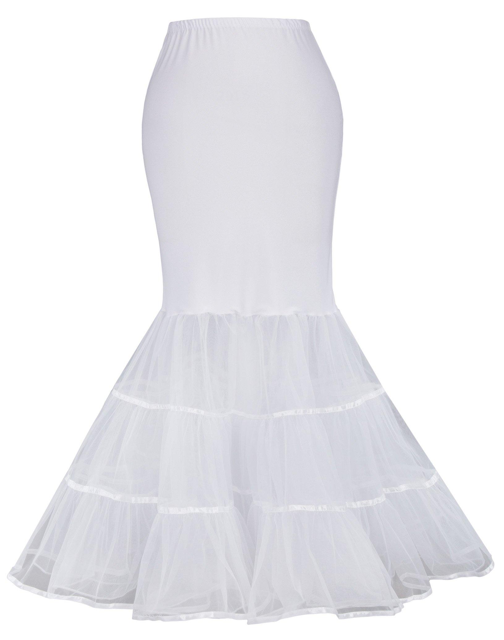 GRACE KARIN Fishtail Prom Dress Petticoat Hopeless for Wedding Dress (S,White 477)